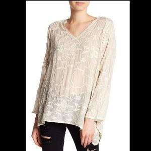 Johnny Was Embroidered Handkerchief Hem Blouse